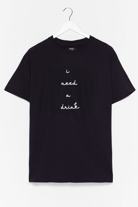 Nasty Gal Womens I Need a Drink Graphic Tee - Black - L