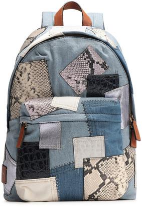 Marc Jacobs Appliqued Leather-trimmed Denim Backpack