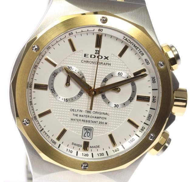 Edox Delfin 10108.357J Stainless Steel / Gold Plated Quartz 44mm Mens Watch