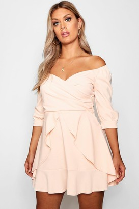 boohoo Plus Off The Shoulder Ruffle Skater Dress