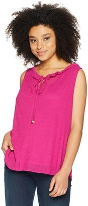 Ellen Tracy Women's Shirred Neck Sleeveless Top