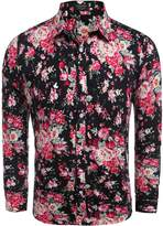 Coofandy Men's Floral Cotton Fashion Slim Fit Long Sleeve Casual Button Down Shirt