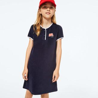 Lacoste Girls Heart Embroidery Henley Dress