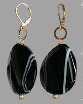 black faceted agate drop earrings