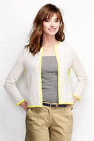 Classic Women's Petite Year Round Cashmere Cardigan Sweater-Vibrant Yellow Tipped