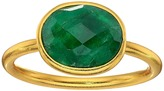 Dee Berkley - Single Oval Stone Adjustable Ring Dyed Emerald Ring