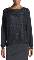 Lafayette 148 New York Long-Sleeve Sequined Lace Top