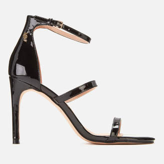 Kurt Geiger London Women's Park Lane Patent Triple Strap Heeled Sandals - Black - UK 3
