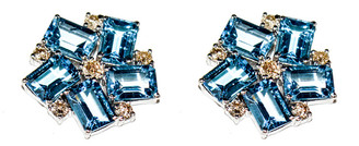 Arthur Marder Fine Jewelry Silver 3.50 Ct. Tw. Diamond & Blue Topaz Earrings