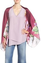 Ted Baker 'Pure Peony' Print Silk Scarf Cape