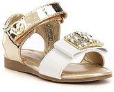 MICHAEL Michael Kors Girls' Demi Elle Metallic Banded Crystal Sandal
