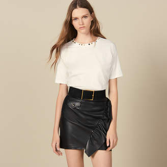 Sandro Short Leather Skirt With Ruffle