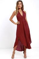 Lush Was it a Dream Berry Red Midi Halter Dress