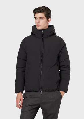 Emporio Armani Nylon Stretch Down Jacket With Hood