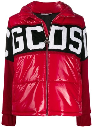 GCDS Knitted Panel Puffer Jacket