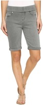Liverpool Sienna Pull-On Bermuda with Rolled-Cuff in Pigment Dyed Slub Stretch Twill in Sharkskin Women's Shorts