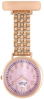 Bermuda Watch Company Annie Apple Pink Mother Of Pearl/Rose Gold Link Bracelet Nurse Fob Watch