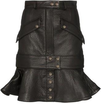 Faith Connexion ruffled leather skirt