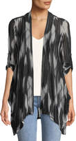 Neiman Marcus Abstract-Print Draped Mesh Cardigan