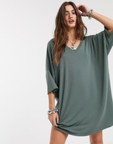 Asos Design DESIGN oversized v neck t-shirt dress in grey khaki