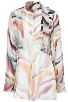 Roberto Cavalli Tie-neck Printed Silk-twill Blouse