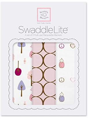 Swaddle Designs Marquisette Swaddle Blankets, Premium Cotton Muslin, SwaddleLite Set of 3, Cute & Calm, Pastel Pink