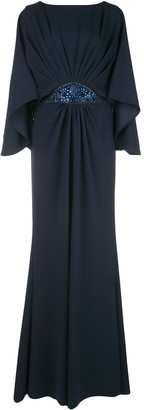 Tadashi Shoji Embellished-Waist Pleated Gown