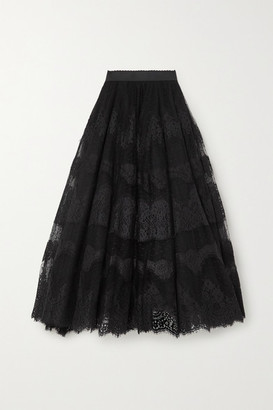 Dolce & Gabbana Embroidered Appliqued Tulle Maxi Skirt - Black