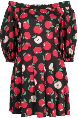 Boutique Moschino Apple Print Off-Shoulder Dress