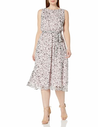 MSK Women's Plus Size S/l Black White Pink Floral Woven Dress with Belt 20W