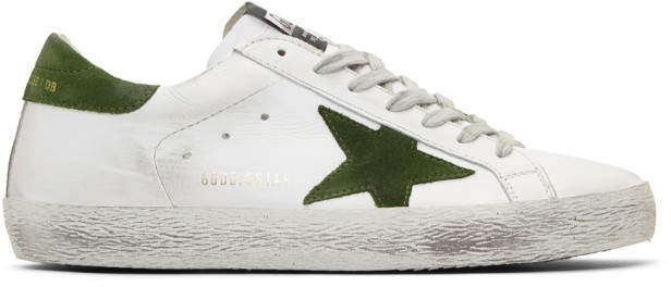 Golden Goose White and Green Superstar Sneakers