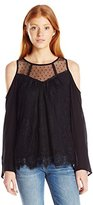 Jolt Women's Cold Shoulder Blouse with Lace Overlay