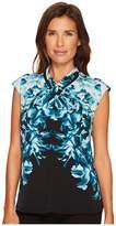 Calvin Klein Sleeveless Printed Top with Crisscross Neck Women's Sleeveless