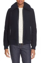 A.P.C. Women's Stacy Faux Leather Trim Wool Jacket With Removable Genuine Shearling Collar