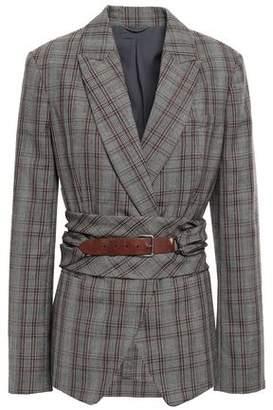 Brunello Cucinelli Belted Leather-trimmed Wool Blazer