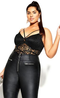 City Chic Sassy Lace Bodysuit - black