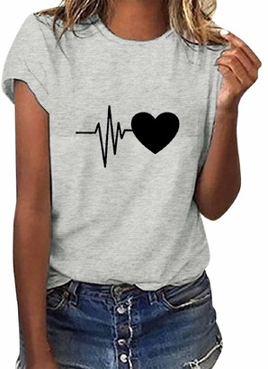 Voqeen Women T-Shirt with Heartbeat Graphic Print Round Neck Casual Ladies T Shirts Comfy Pure Cotton T Shirt Teen Girls Tops Summer Blouse Green