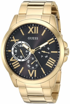 GUESS Gold-Tone Stainless Steel + Black Bracelet Watch with Day Date + 24 Hour Military/Int'l Time. Color: Gold-Tone (Model: U1184G2)