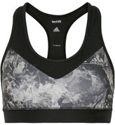 adidas Techfit Printed Stretch Sports Bra - Black