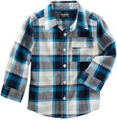 Osh Kosh Toddler Boy Long Sleeve Blue Plaid Button-Down Shirt