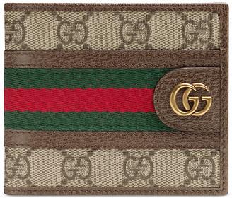 Gucci Ophidia GG Wallet In Beige Ebony & Green & Red in Beige Ebony & Green & Red | FWRD