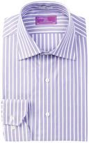 Lorenzo Uomo Striped Trim Fit Dress Shirt