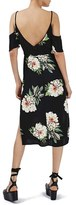 Topshop Women's Floral Print Cold Shoulder Midi Dress