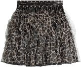 Just Cavalli Ruffled Animal Print Mini Skirt with Stud Trim