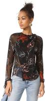 Diane von Furstenberg Long Sleeve Tie Neck Slit Blouse