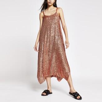 River Island Womens Rust sequin cami dress