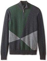 Thirty Five Kent Men's Cashmere Intarsia Quarter-Zip Pullover Sweater