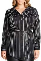 City Chic Long Sleeve Striped Tunic