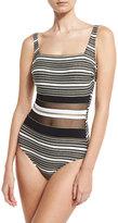 Gottex Regatta Metallic-Stripe One-Piece Swimsuit