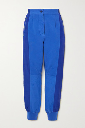 Haider Ackermann Cropped Paneled Cotton-jersey And Poplin Track Pants - Blue